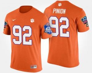 #92 Bradley Pinion Clemson Tigers For Men Atlantic Coast Conference Sugar Bowl Bowl Game T-Shirt - Orange