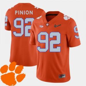 #92 Bradley Pinion Clemson Tigers For Men's 2018 ACC College Football Jersey - Orange