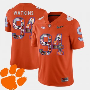 #94 Carlos Watkins Clemson Tigers Men Football Pictorial Fashion Jersey - Orange
