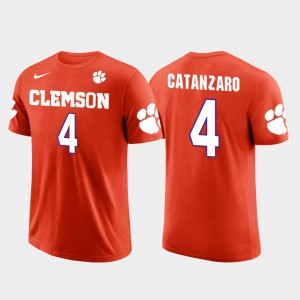 #4 Chandler Catanzaro Clemson Tigers Future Stars Men's Carolina Panthers Football T-Shirt - Orange