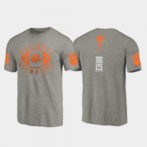 #7 Chase Brice Clemson Tigers Mens 2018 National Champions College Football Playoff T-Shirt - Gray