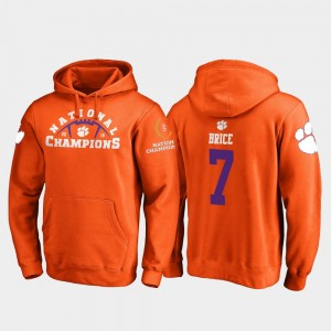 #7 Chase Brice Clemson Tigers 2018 National Champions College Football Playoff Pylon For Men's Hoodie - Orange