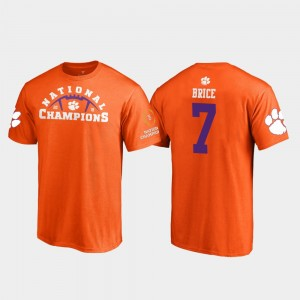 #7 Chase Brice Clemson Tigers Men 2018 National Champions Pylon College Football Playoff T-Shirt - Orange