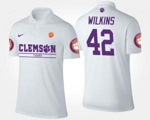 #42 Christian Wilkins Clemson Tigers For Men Polo - White