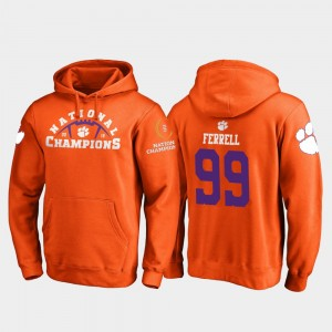 #99 Clelin Ferrell Clemson Tigers College Football Playoff Pylon 2018 National Champions Men Hoodie - Orange