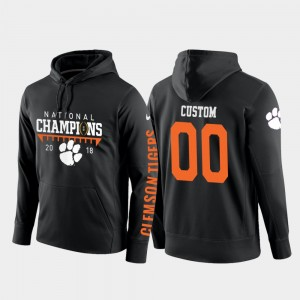 #00 Clemson Tigers College Football Pullover 2018 National Champions Men's Customized Hoodies - Black
