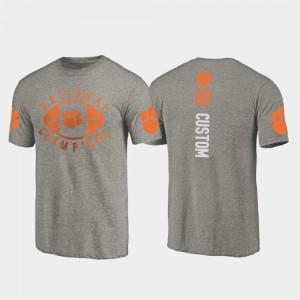 #00 Clemson Tigers 2018 National Champions College Football Playoff Men Custom T-Shirt - Gray