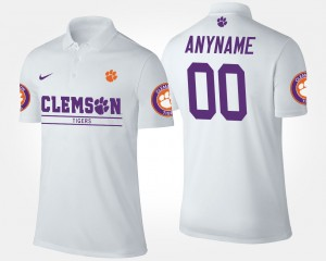 #00 Clemson Tigers For Men's Customized Polo - White