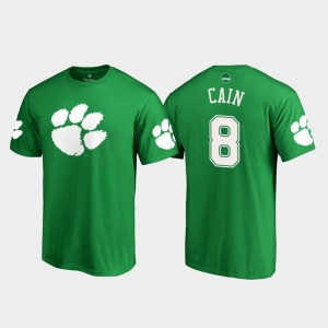 #8 Deon Cain Clemson Tigers St. Patrick's Day White Logo Mens T-Shirt - Kelly Green