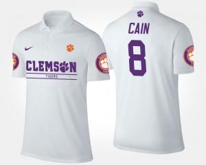 #8 Deon Cain Clemson Tigers Men Polo - White