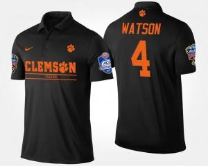 #4 Deshaun Watson Clemson Tigers Bowl Game Men's Atlantic Coast Conference Sugar Bowl Polo - Black