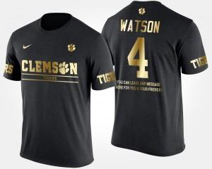 #4 Deshaun Watson Clemson Tigers Short Sleeve With Message Gold Limited Men T-Shirt - Black