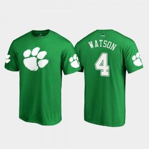 #4 Deshaun Watson Clemson Tigers White Logo St. Patrick's Day For Men T-Shirt - Kelly Green