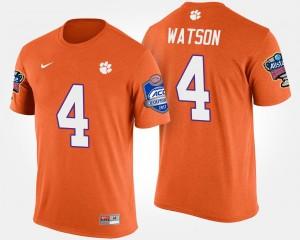 #4 Deshaun Watson Clemson Tigers Mens Bowl Game Atlantic Coast Conference Sugar Bowl T-Shirt - Orange