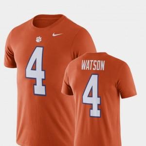 #4 Deshaun Watson Clemson Tigers Men Football Performance T-Shirt - Orange