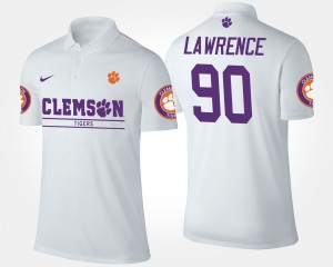 #90 Dexter Lawrence Clemson Tigers For Men Polo - White