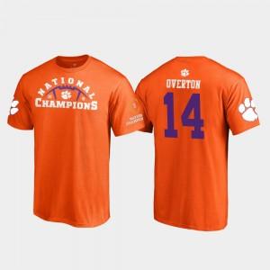 #14 Diondre Overton Clemson Tigers Pylon College Football Playoff 2018 National Champions Men T-Shirt - Orange