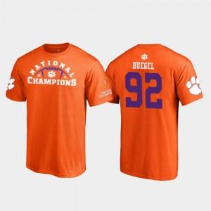 #92 Greg Huegel Clemson Tigers 2018 National Champions Pylon College Football Playoff Men's T-Shirt - Orange