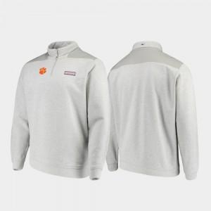 Clemson Tigers Mens Quarter-Zip Shep Shirt Jacket - Heathered Gray