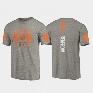 #13 Hunter Renfrow Clemson Tigers Men 2018 National Champions College Football Playoff T-Shirt - Gray