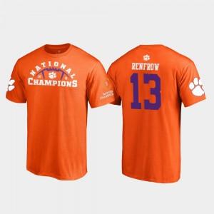 #13 Hunter Renfrow Clemson Tigers For Men's Pylon College Football Playoff 2018 National Champions T-Shirt - Orange