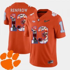 #13 Hunter Renfrow Clemson Tigers Football Pictorial Fashion For Men Jersey - Orange