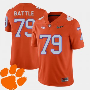#79 Isaiah Battle Clemson Tigers College Football Men 2018 ACC Jersey - Orange