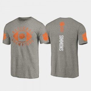 #11 Isaiah Simmons Clemson Tigers 2018 National Champions For Men's College Football Playoff T-Shirt - Gray