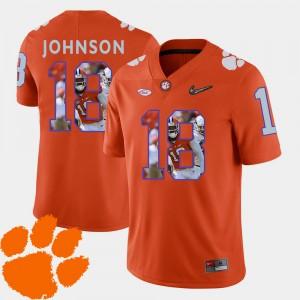 #18 Jadar Johnson Clemson Tigers Pictorial Fashion For Men Football Jersey - Orange