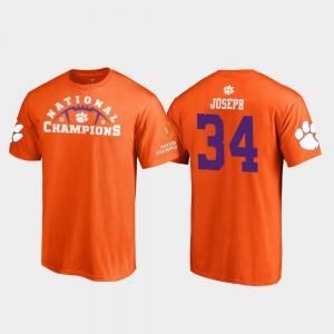 #34 Kendall Joseph Clemson Tigers 2018 National Champions For Men's Pylon College Football Playoff T-Shirt - Orange