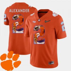 #2 Mackensie Alexander Clemson Tigers For Men's Pictorial Fashion Football Jersey - Orange