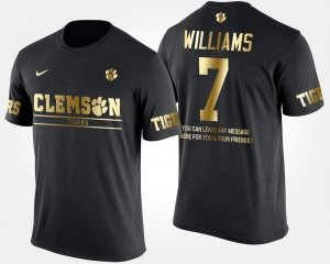 #7 Mike Williams Clemson Tigers Short Sleeve With Message Gold Limited For Men's T-Shirt - Black