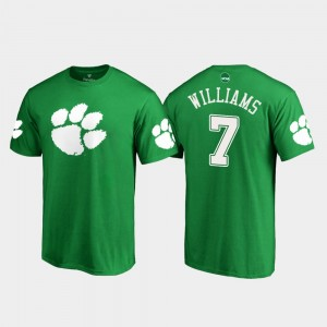 #7 Mike Williams Clemson Tigers For Men's White Logo St. Patrick's Day T-Shirt - Kelly Green