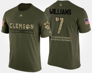 #7 Mike Williams Clemson Tigers Military Short Sleeve With Message Men's T-Shirt - Camo