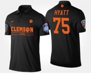 #75 Mitch Hyatt Clemson Tigers Bowl Game Atlantic Coast Conference Sugar Bowl Mens Polo - Black