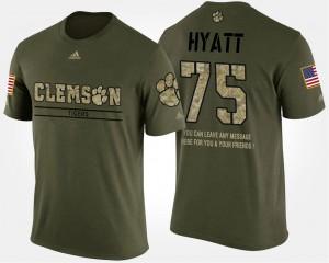 #75 Mitch Hyatt Clemson Tigers Short Sleeve With Message Military Men's T-Shirt - Camo
