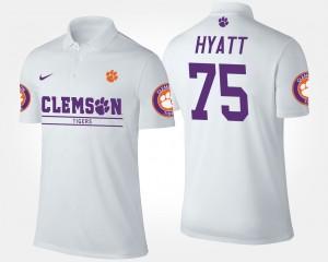 #75 Mitch Hyatt Clemson Tigers Mens Polo - White