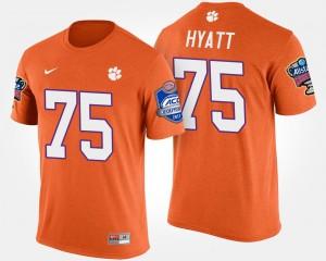 #75 Mitch Hyatt Clemson Tigers For Men's Atlantic Coast Conference Sugar Bowl Bowl Game T-Shirt - Orange