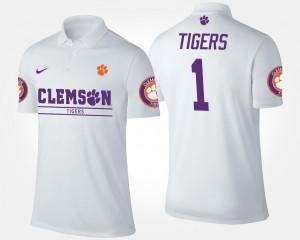 #1 Clemson Tigers Men No.1 Short Sleeve Polo - White