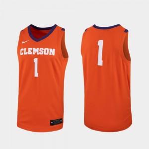 #1 Clemson Tigers Mens Replica College Basketball Jersey - Orange