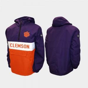 Clemson Tigers Alpha Anorak Pullover Half-Zip Men Jacket - Purple