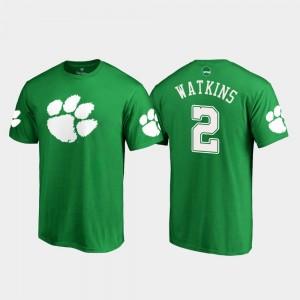#2 Sammy Watkins Clemson Tigers For Men White Logo St. Patrick's Day T-Shirt - Kelly Green