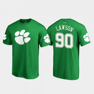 #90 Shaq Lawson Clemson Tigers Men's White Logo St. Patrick's Day T-Shirt - Kelly Green