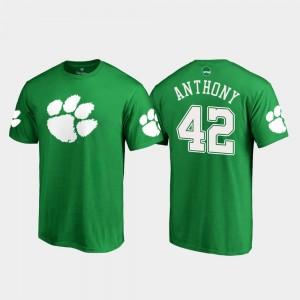 #42 Stephone Anthony Clemson Tigers St. Patrick's Day White Logo Mens T-Shirt - Kelly Green