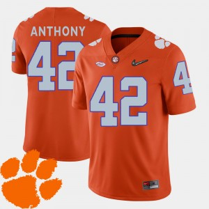 #42 Stephone Anthony Clemson Tigers 2018 ACC College Football For Men Jersey - Orange