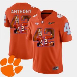 #42 Stephone Anthony Clemson Tigers Pictorial Fashion Football Men Jersey - Orange