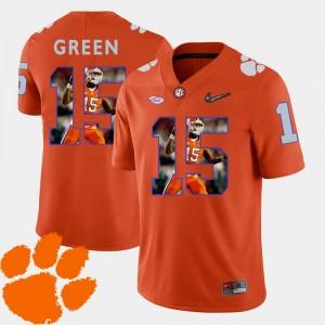 #15 T.J. Green Clemson Tigers For Men Pictorial Fashion Football Jersey - Orange