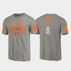 #19 Tanner Muse Clemson Tigers For Men's 2018 National Champions College Football Playoff T-Shirt - Gray