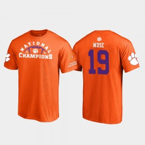 #19 Tanner Muse Clemson Tigers 2018 National Champions For Men Pylon College Football Playoff T-Shirt - Orange