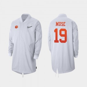 #19 Tanner Muse Clemson Tigers 2019 College Football Playoff Bound Full-Zip Sideline For Men Jacket - White